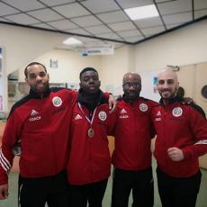 Championnat d'île de France Combat Cadets-Juniors à PARIS - Diallo Malick et ses coachs